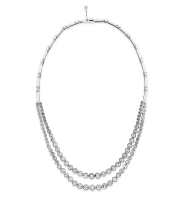 View 2. Thumbnail of Lot 48. Collier diamants | Diamond necklace.
