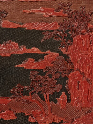 View 6. Thumbnail of Lot 63. An exceptional pair of carved three-color lacquer 'landscape' panels, Qing dynasty, Qianlong period | 清乾隆 剔彩山水高士圖掛屏一對.
