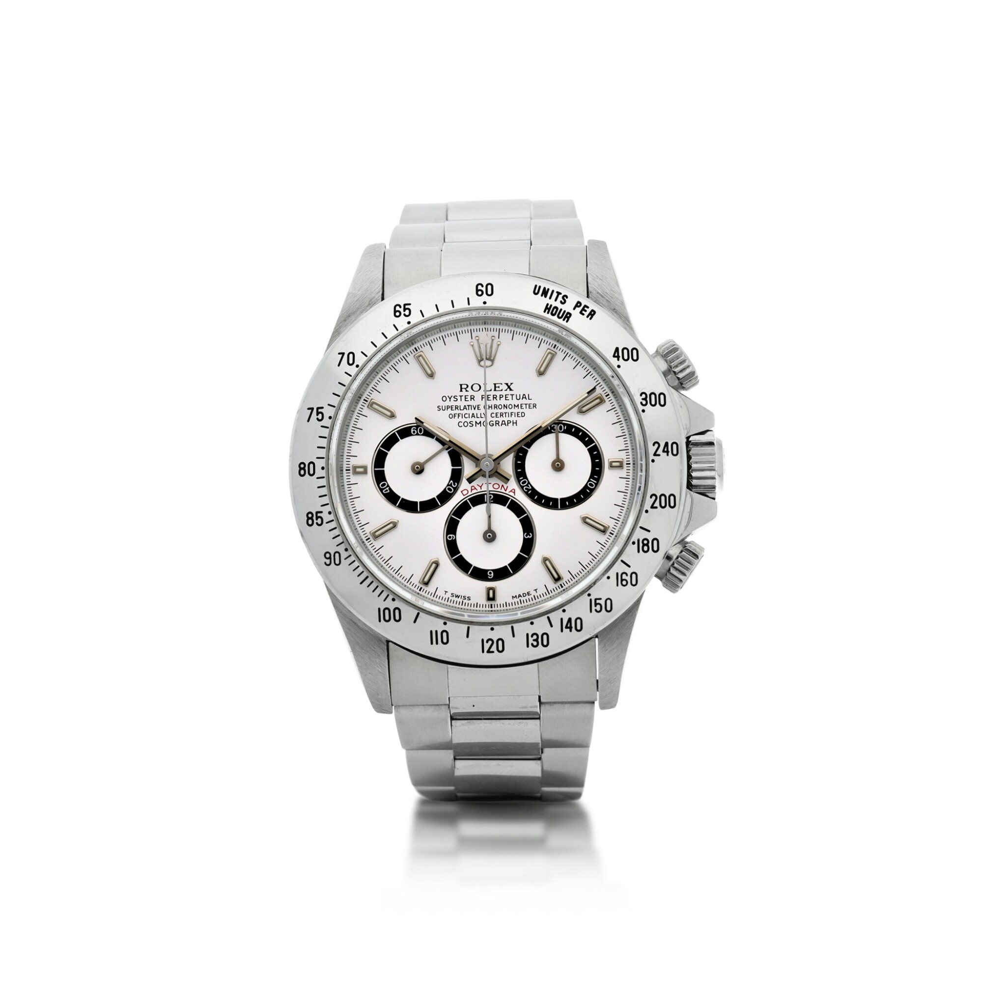 View full screen - View 1 of Lot 18. ROLEX   REFERENCE 16520 'ZENITH' DAYTONA A STAINLESS STEEL AUTOMATIC CHRONOGRAPH WRISTWATCH WITH BRACELET, CIRCA 1994.