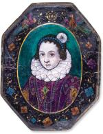 ATTRIBUTED TO JEAN LIMOSIN (ACTIVE CIRCA 1615-1635),   FRENCH, LIMOGES, EARLY 17TH CENTURY | OCTAGONAL PORTRAIT OF ANNE OF AUSTRIA (1601-1666)
