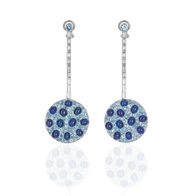 PAIR OF AQUAMARINE, SAPPHIRE AND DIAMOND EARRINGS, MICHELE DELLA VALLE