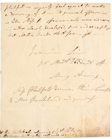 View 2. Thumbnail of Lot 1. Mary Anning | Autograph letter signed, to William Buckland, 24 November 1834.