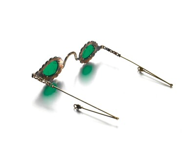 View 6. Thumbnail of Lot 213. A pair of Mughal spectacles set with emerald lenses, in diamond-mounted frames, India, lenses circa 17th century, frames 19th century.