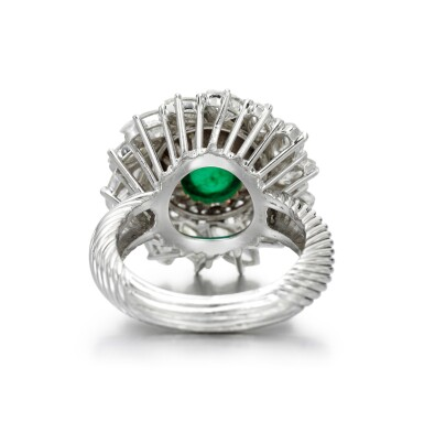View 3. Thumbnail of Lot 83. EMERALD AND DIAMOND RING.