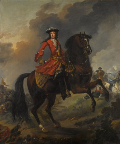 View 1. Thumbnail of Lot 144. Equestrian Portrait of King William III (1650-1702), a battle beyond.