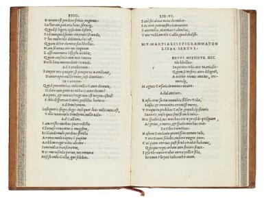 View 1. Thumbnail of Lot 178. Martialis, Epigrammata, Venice, Aldus, 1501, mottled calf.