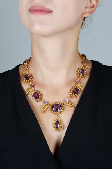 View 4. Thumbnail of Lot 50. AMETHYST AND GOLD NECKLACE, CIRCA 1830.
