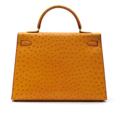 View 3. Thumbnail of Lot 315. Saffron Sellier Kelly 35 in Ostrich Leather with Gold Hardware, 1996.