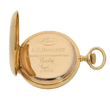 View 4. Thumbnail of Lot 111. PATEK PHILIPPE | RETAILED BY A.H. RODANET: A PINK GOLD DEMI HUNTING CASED WATCH CIRCA 1900.