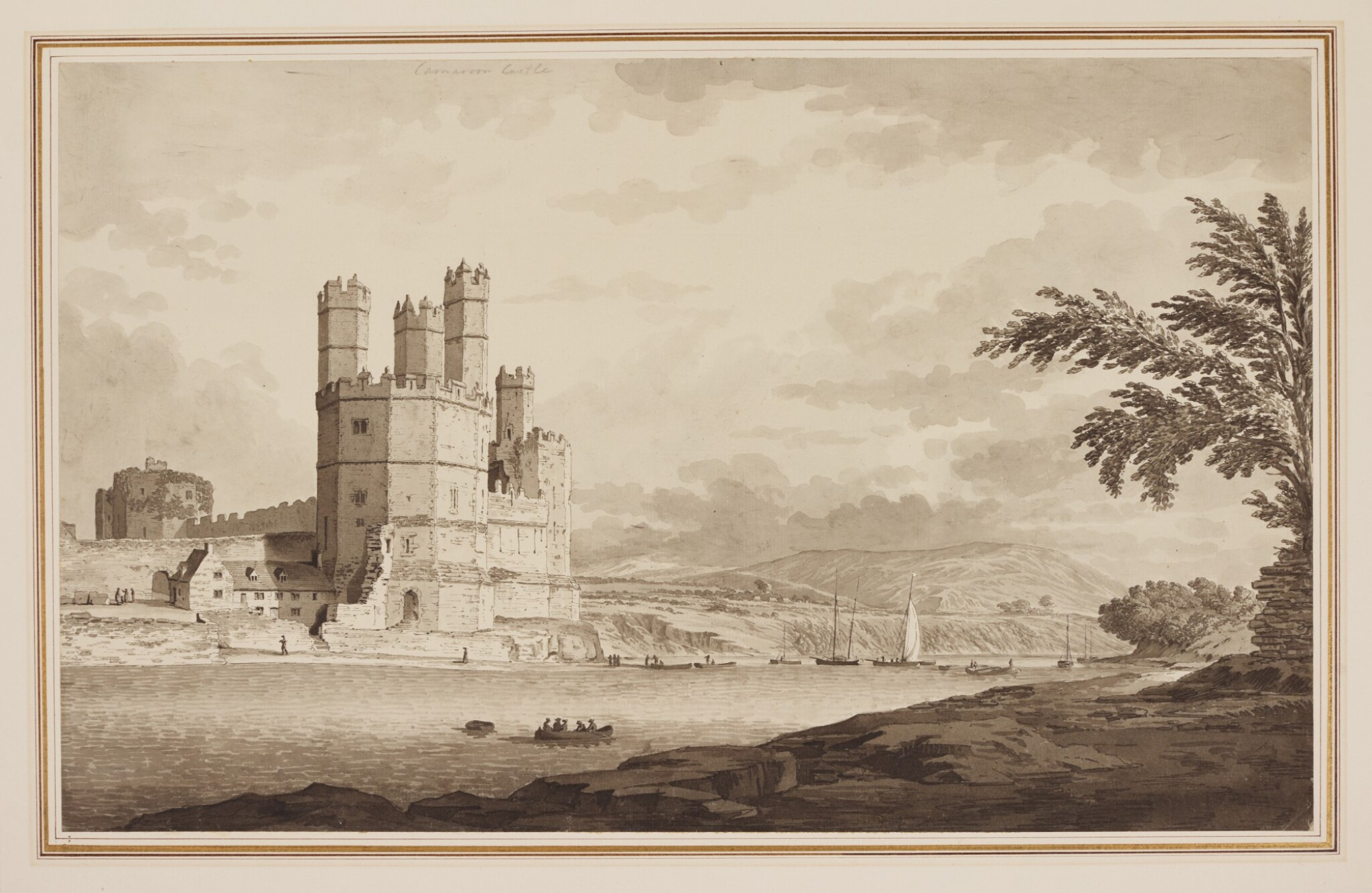 View full screen - View 1 of Lot 590. SAMUEL HIERONYMUS GRIMM | Caernarvon Castle, North Wales.