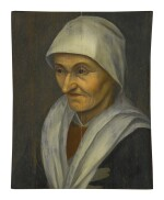 MANNER OF PIETER BRUEGEL THE ELDER | PORTRAIT OF A PEASANT WOMAN, HALF LENGTH, FACING LEFT