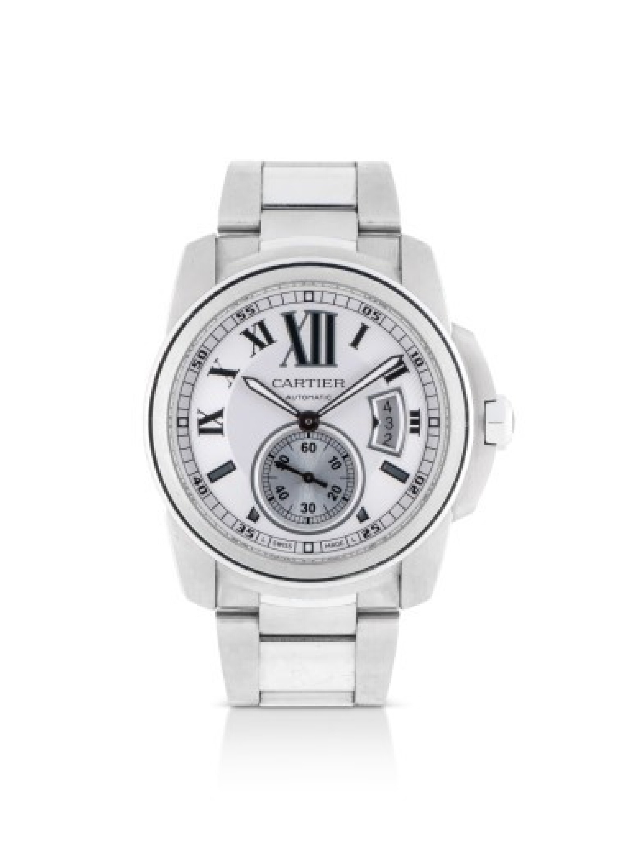 CARTIER | CALIBRE DE CARTIER, REFERENCE 3389, STAINLESS STEEL WRISTWATCH WITH DATE AND BRACELET, CIRCA 2011