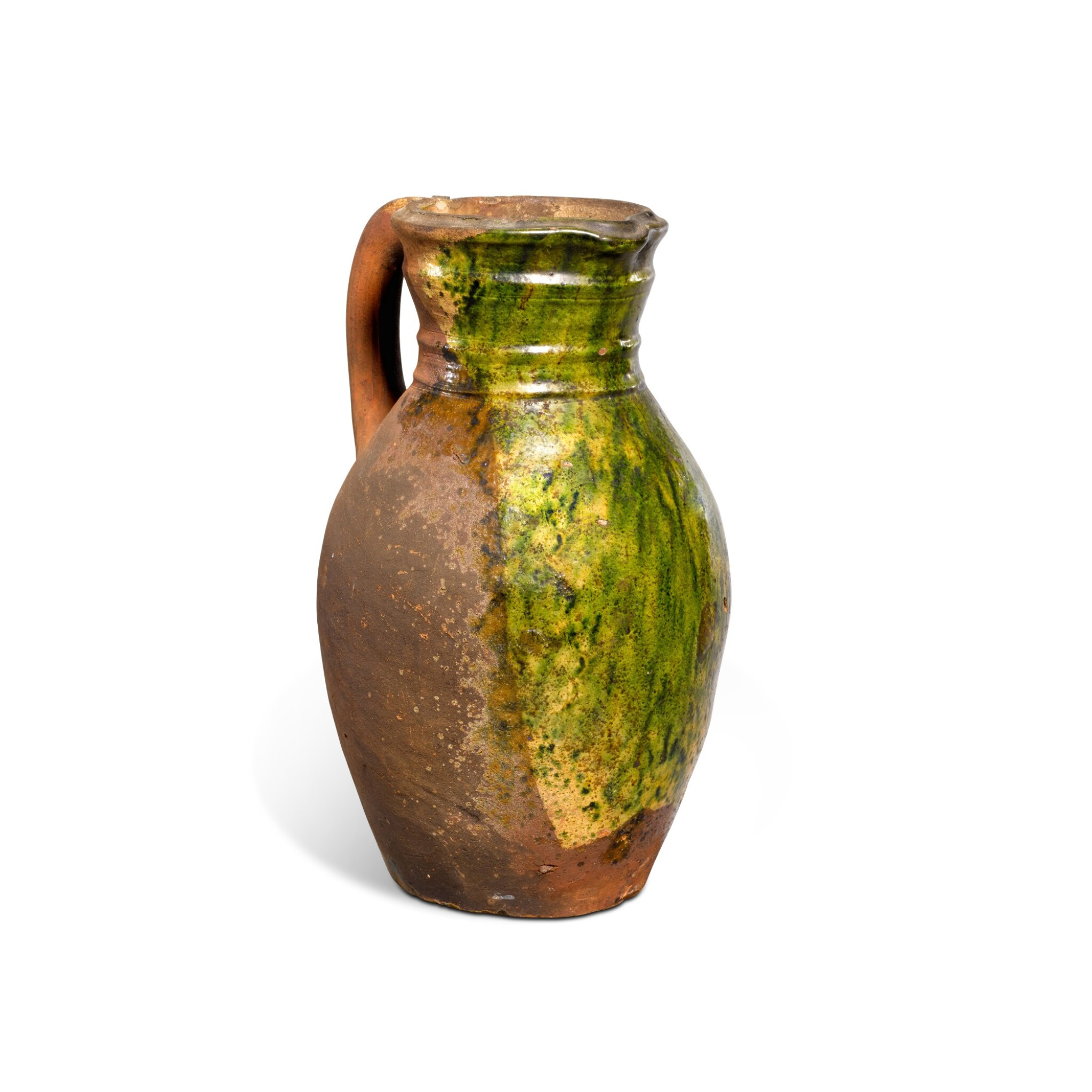View full screen - View 1 of Lot 78. A Borderware green-glazed pottery jug, probably 15th century.