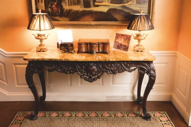 View 5. Thumbnail of Lot 522. AN IRISH GEORGE III CARVED MAHOGANY CONSOLE TABLE, MID-18TH CENTURY.