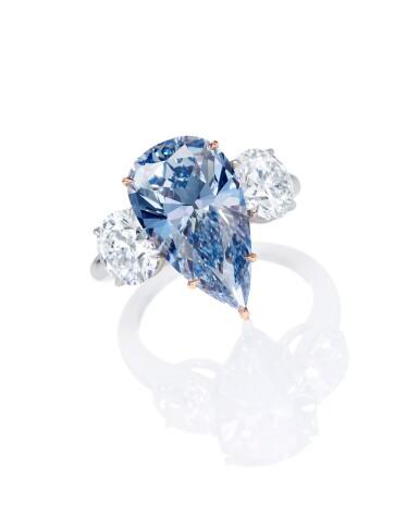View 3. Thumbnail of Lot 1756. AN EXCEPTIONAL FANCY VIVID BLUE DIAMOND AND DIAMOND RING | 珍罕非凡 4.84卡拉 艷彩藍色 內部無瑕(IF)鑽石 配 鑽石 戒指.