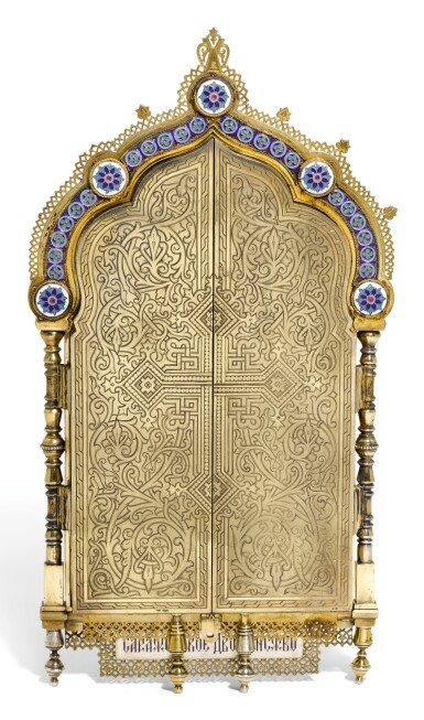 View 2. Thumbnail of Lot 502. A SILVER-GILT CLOISONNÉ AND PICTORIAL ENAMEL TRIPTYCH ICON, KHLEBNIKOV, MOSCOW, 1899-1908.