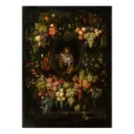 FRANS VAN EVERBROECK | GARLAND OF FRUIT SURROUNDING A STONE CARTOUCHE WITH ST. JOSEPH HOLDING THE CHRIST CHILD