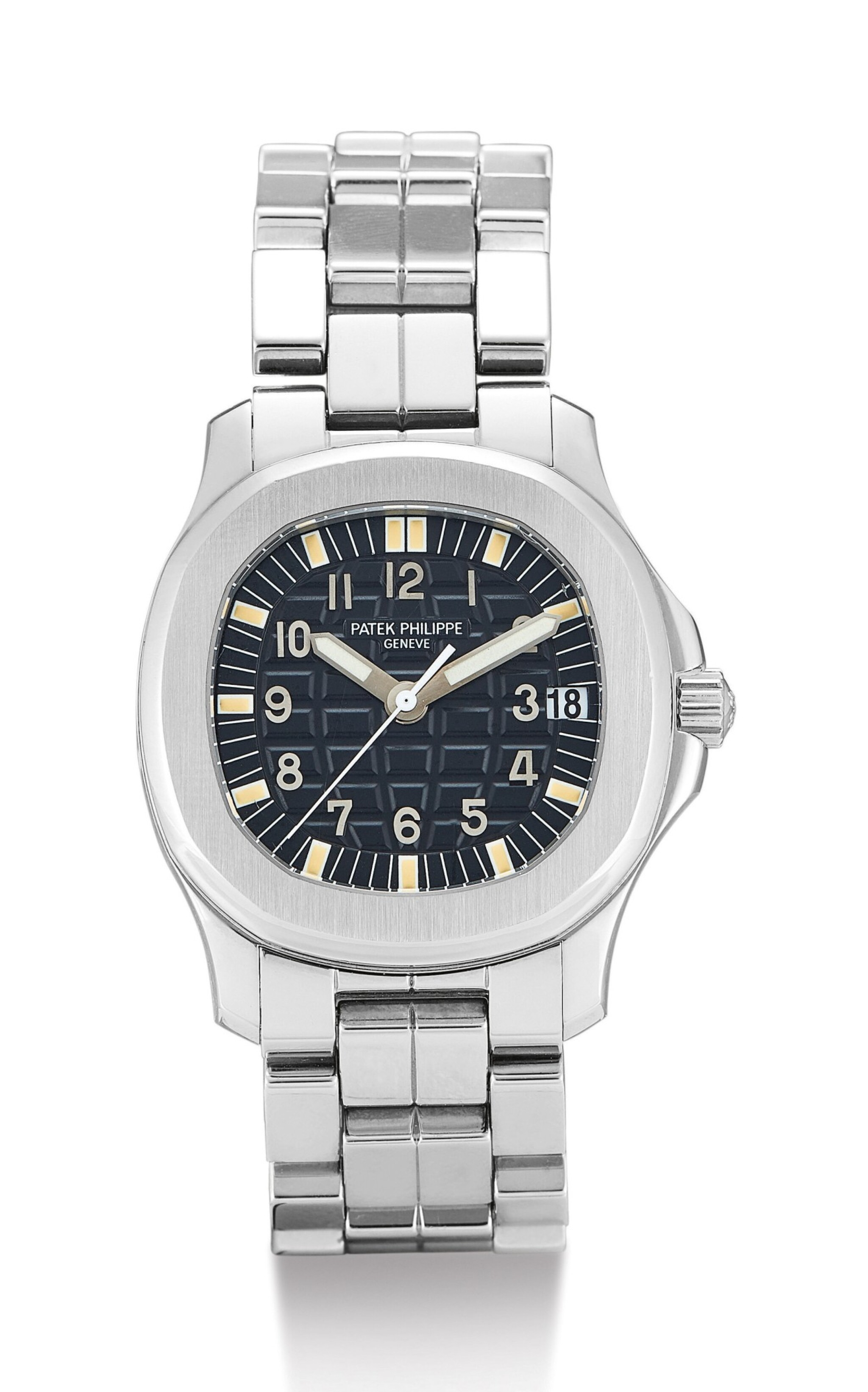 View full screen - View 1 of Lot 25. PATEK PHILIPPE   AQUANAUT, REFERENCE 5066, A STAINLESS STEEL WRISTWATCH WITH DATE AND BRACELET, CIRCA 2000        .