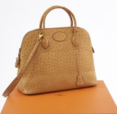 Saffron ostrich leather and yellow hardware handbag, Bolide 35 , Hermès, 1992