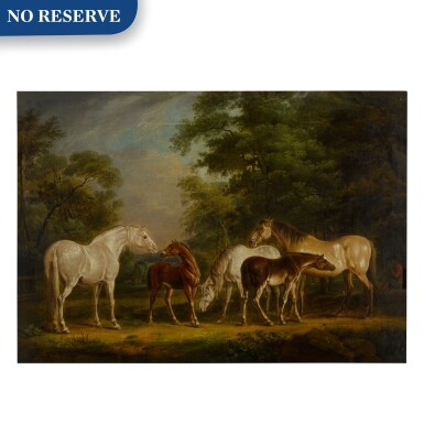 View 1. Thumbnail of Lot 121. Mares and foals in a clearing.