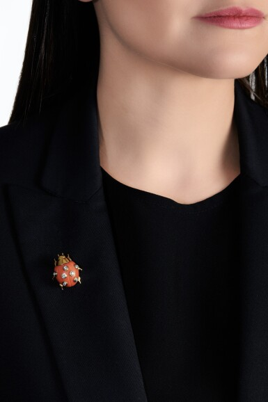 View 4. Thumbnail of Lot 624. Cartier | Coral and diamond clip, 'COCCINELLE' | 卡地亞 | 珊瑚配鑽石「COCCINELLE」別針.