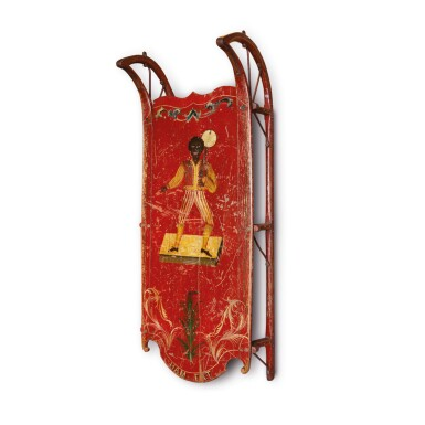 VERY FINE AND RARE CHILD'S RED AND POLYCHROME PAINT-DECORATED OAK SLED WITH 'HAM FAT' MINSTREL AND BANJO, PROBABLY NEW ENGLAND, CIRCA 1860-80