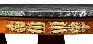 View 4. Thumbnail of Lot 57. An Italian gilt-bronze mounted thuyawood centre table, Milan, circa 1820, the mounts attributed to Luigi and Antonio Manfredini.
