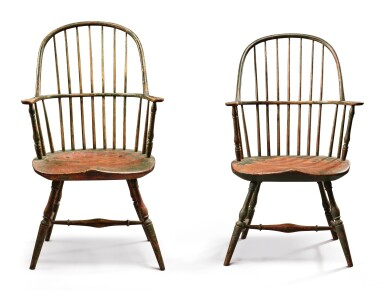 View 2. Thumbnail of Lot 1434. VERY FINE AND RARE PAIR OF GREEN AND RED PAINTED WINDSOR SACK-BACK ARMCHAIRS, NEW ENGLAND, CIRCA 1790.