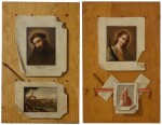 ANDREA DOMENICO REMPS | A pair of trompe l'œil still lifes, with illusionistic prints of:a female saint; and Saint Francis