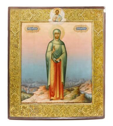 View 1. Thumbnail of Lot 282. Icon of Saint Elizabeth, Iosif Semenovich Chirikov, Moscow, 1891.
