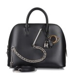 Hermès Black Smile Bolide 1923 30cm of Tadelakt Leather and Black Niloticus Lizard with Palladium Hardware