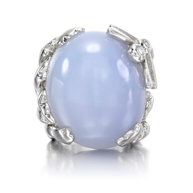 View 1. Thumbnail of Lot 143. Chalcedony and diamond ring, 'Gourmande Libellule'.
