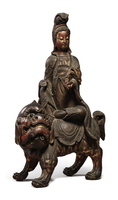 View 3. Thumbnail of Lot 1108. A LARGE LACQUERED AND GILT-WOOD FIGURE OF SIMHANADA AVOLOKITESHVARA,  LATE MING / EARLY QING DYNASTY.