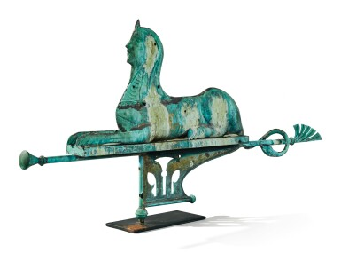 View 3. Thumbnail of Lot 1495. VERY FINE AND RARE MOLDED SHEET-COPPER SWELLED-BODIED SPHINX WEATHERVANE, J.L. MOTT IRON WORKS, NEW YORK AND CHICAGO, CIRCA 1892.