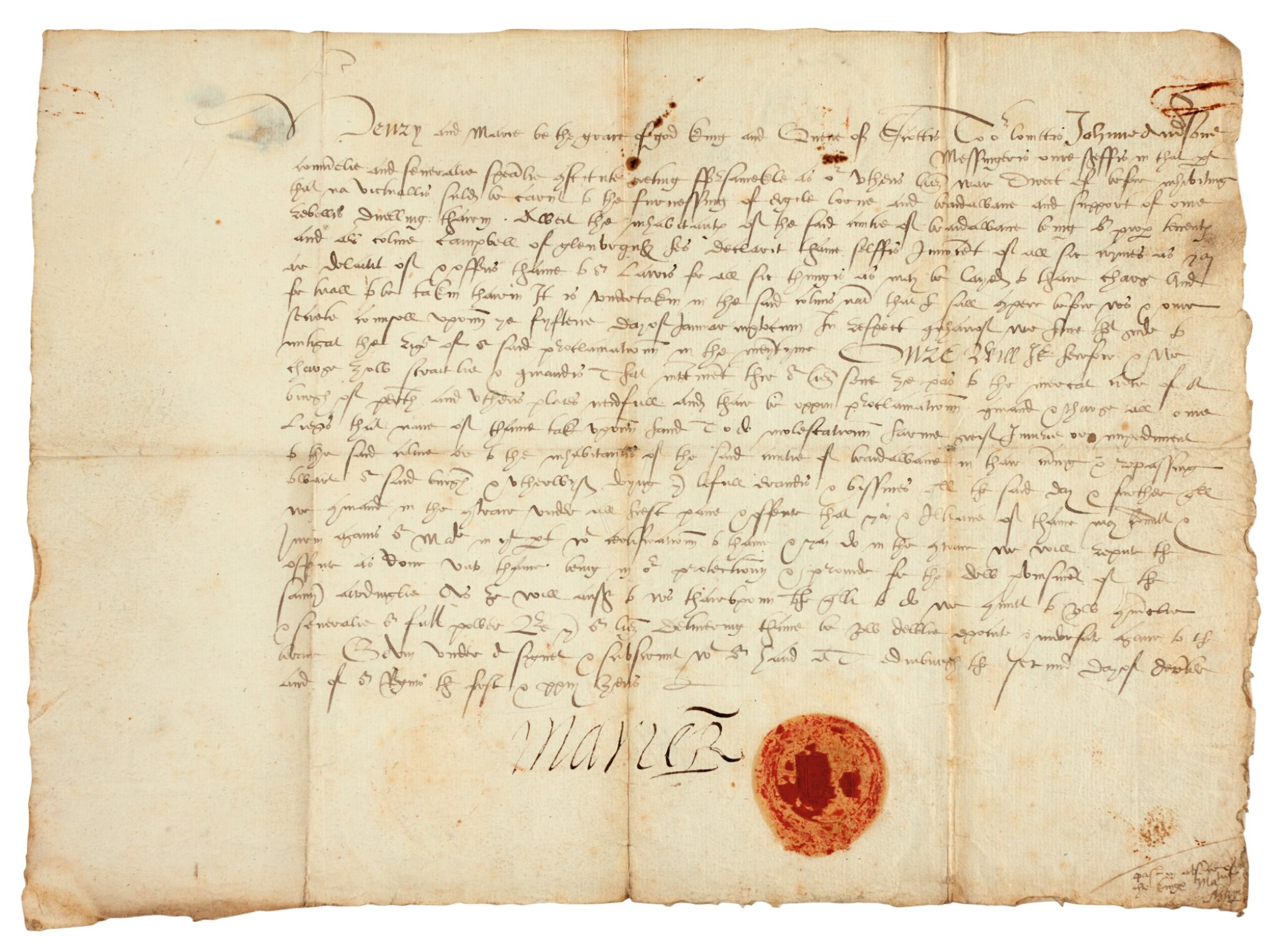 View full screen - View 1 of Lot 77. MARY, QUEEN OF SCOTS | document signed, 1565.