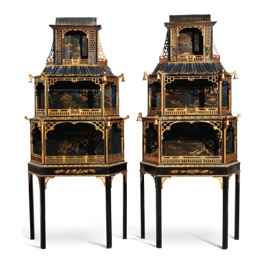 View 1. Thumbnail of Lot 652. A PAIR OF GEORGE II STYLE BLACK AND GOLD JAPANNED AND CHINESE LACQUER DISPLAY CABINETS, LATE 19TH/EARLY 20TH CENTURY, INCORPORATING EARLIER CHINESE LACQUER PANELS.