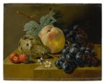 Still life with ripening fruits on a stone ledge