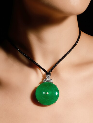View 3. Thumbnail of Lot 1671. A FINE AND RARE JADEITE, DIAMOND AND SAPPHIRE PENDENT NECKLACE   天然翡翠雕「懷古」 配 鑽石 及 藍寶石 項鏈   .