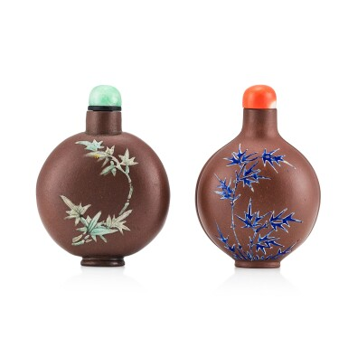View 2. Thumbnail of Lot 3077. Two Yixing Slip-Decorated Snuff Bottles Qing Dynasty, 19th Century | 清十九世紀 宜興紫砂堆料加彩鼻煙壺兩件.