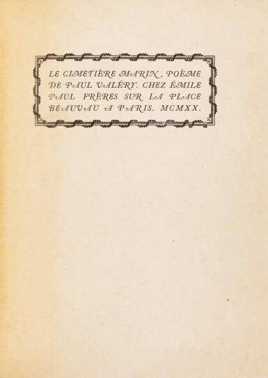 View 3. Thumbnail of Lot 316. Le Cimetière marin. Paris, 1920. In-4. Reliure de Pierre Legrain. Double EAS à A. de Noailles et R. Davis..