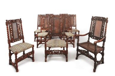 View 2. Thumbnail of Lot 508. AN ASSEMBLED SET OF TEN WILLIAM AND MARY CARVED AND TURNED CANED WALNUT CHAIRS, LATE 17TH CENTURY.