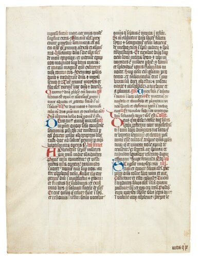 View 5. Thumbnail of Lot 1. Nine manuscript leaves, mostly 15th century, from books of hours and prayerbooks, on vellum.