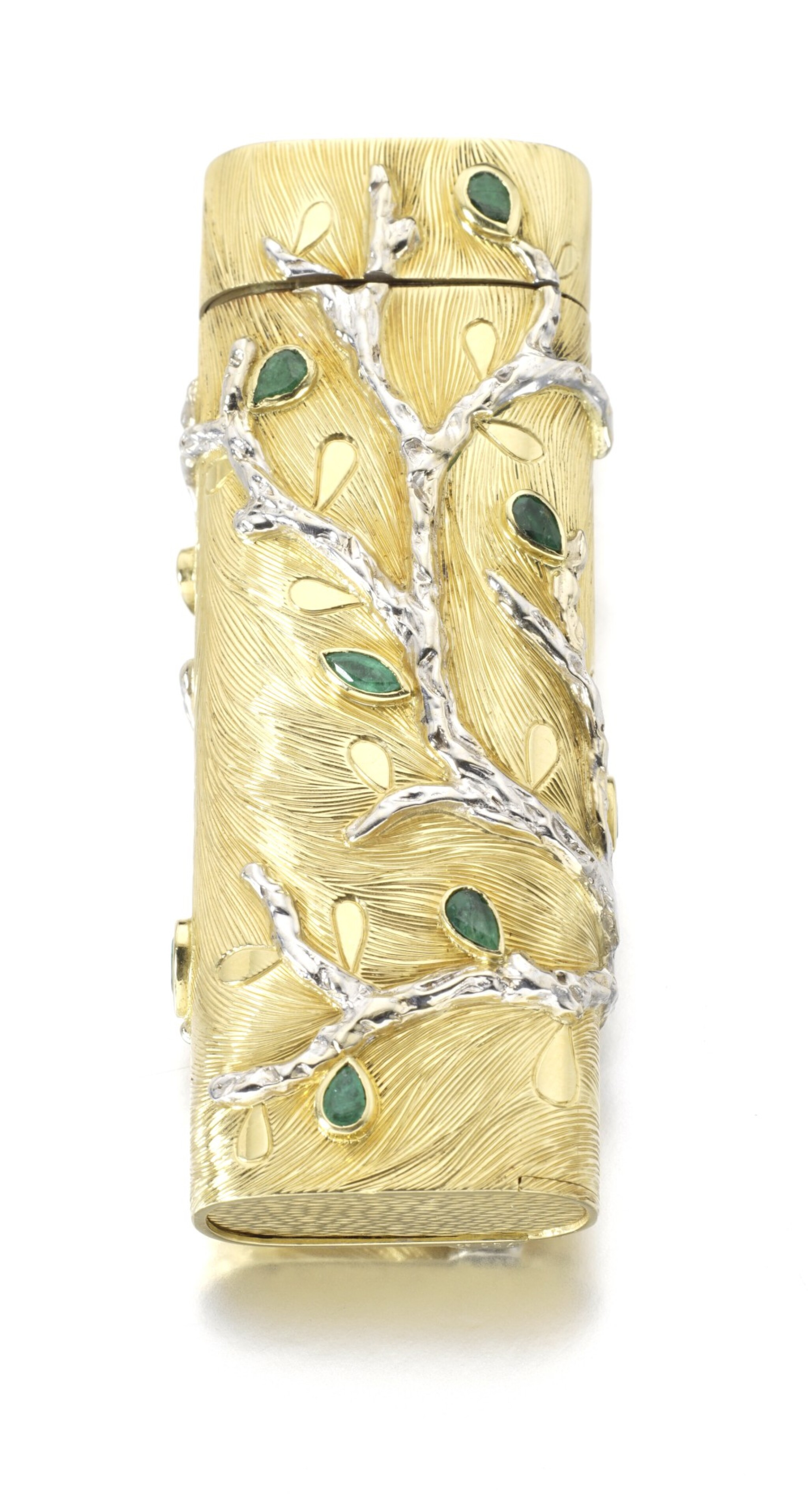 View full screen - View 1 of Lot 102. GOLD AND EMERALD LIGHTER.