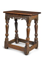 A Charles I oak joined stool, early 17th century
