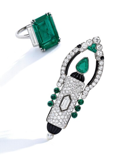 View 3. Thumbnail of Lot 20. Cartier [ 卡地亞] | Gem-Set and Diamond Lapel-Watch, France [寶石配鑽石領錶].