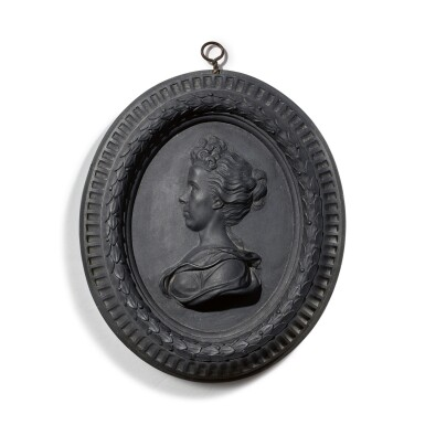 A WEDGWOOD AND BENTLEY BLACK BASALT OVAL PORTRAIT MEDALLION OF ANNE DACIER LATE 18TH CENTURY