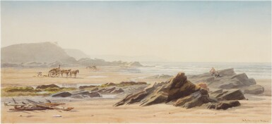 View 1. Thumbnail of Lot 223. Seaweed gatherers on the beach, Guernsey.