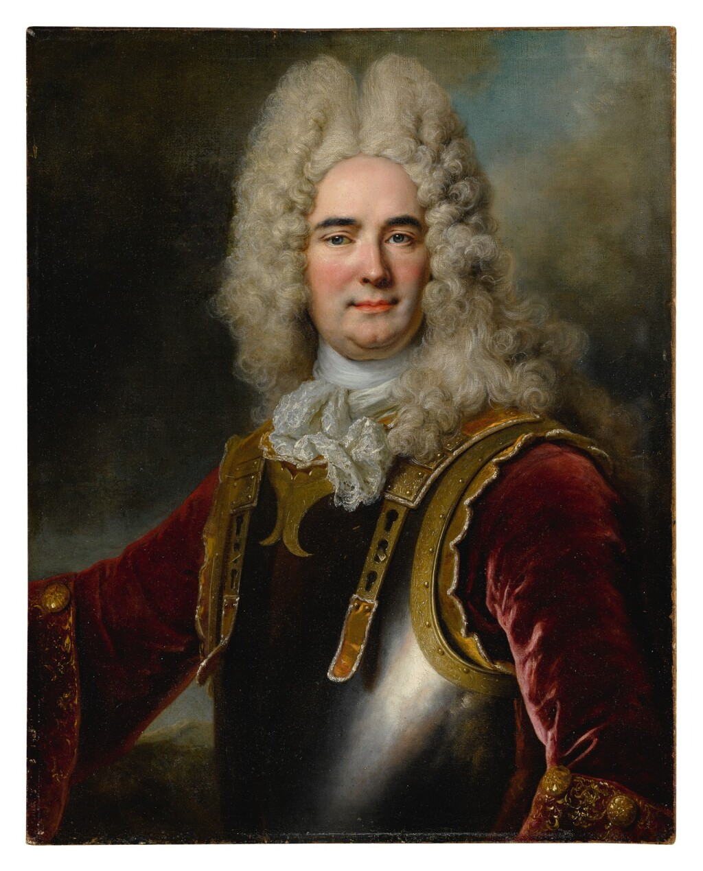 NICOLAS DE LARGILLIERRE   PORTRAIT OF A GENTLEMAN, SAID TO BE THE CHAMBERLAIN DE MONTARGU, HALF-LENGTH, WEARING A BREASTPLATE OVER A RED VELVET JACKET WITH GOLD EMBROIDERED SLEEVES