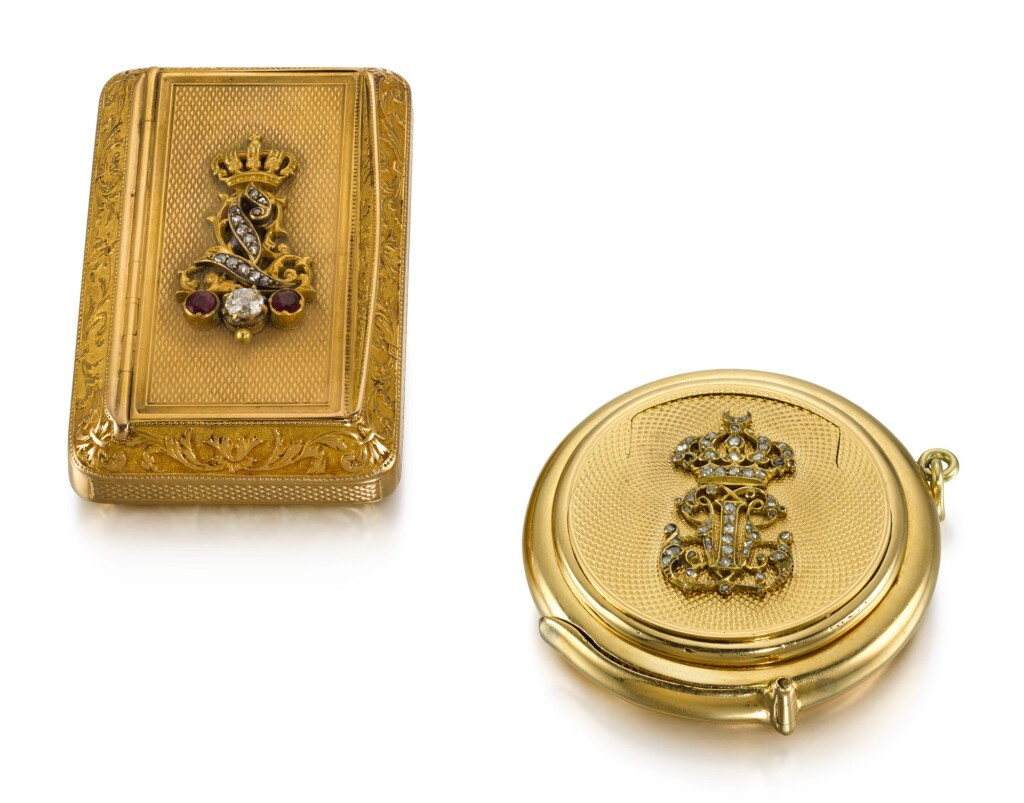 TWO SMALL GOLD BOXES WITH JEWELLED CIPHERS, PARIS, CIRCA 1825 AND CIRCA 1870
