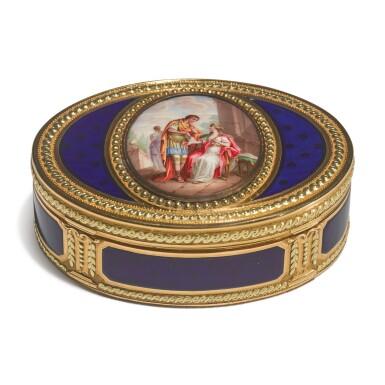 A LOUIS XVI ENAMELED VARICOLOR GOLD OVAL SNUFF BOX, MELCHIOR-RENE BARRE, PARIS, 1779